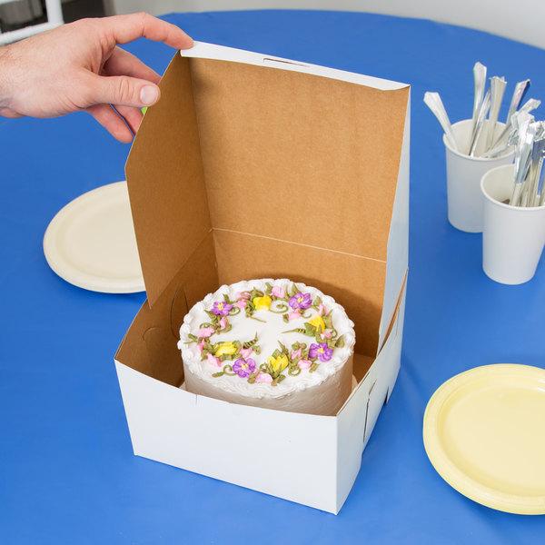 """8"""" x 8"""" x 5"""" White Cake / Bakery Box - 100/Bundle Main Image 5"""