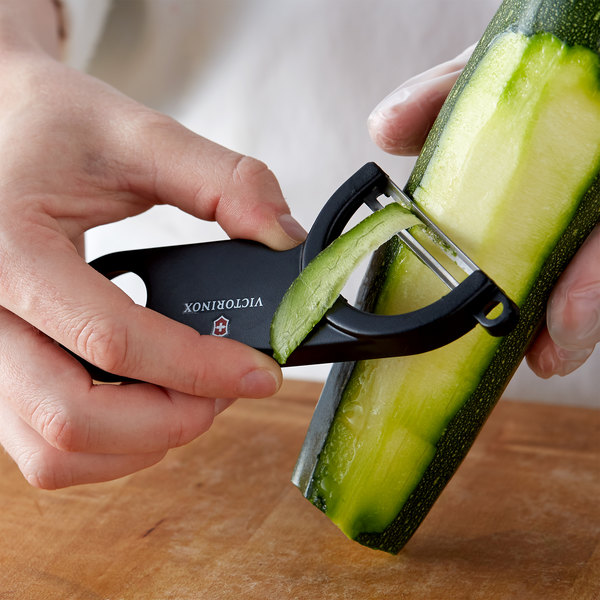 """Victorinox 7.6073.3 6 1/4"""" Black Off-Set """"Y"""" Vegetable Peeler with Straight High Carbon Stainless Steel Blade Main Image 2"""