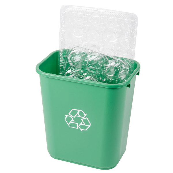 Continental 2818-2 28 Qt. / 7 Gallon Green Rectangular Recycling Wastebasket / Trash Can Main Image 2