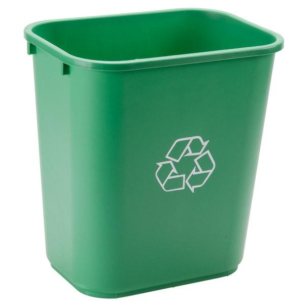 Continental 2818-2 28 Qt. / 7 Gallon Green Rectangular Recycling Wastebasket / Trash Can