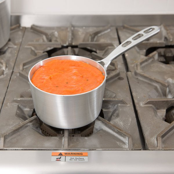 Vollrath 67301 Wear-Ever 1.5 Qt. Natural Finish Tapered Sauce Pan with TriVent Chrome Plated Handle