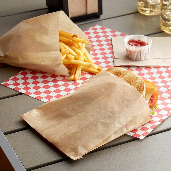 "Carnival King 6"" x 3/4"" x 6 1/2"" Kraft Customizable Sandwich / Extra Large French Fry Bag - 2000/Case Main Image 2"