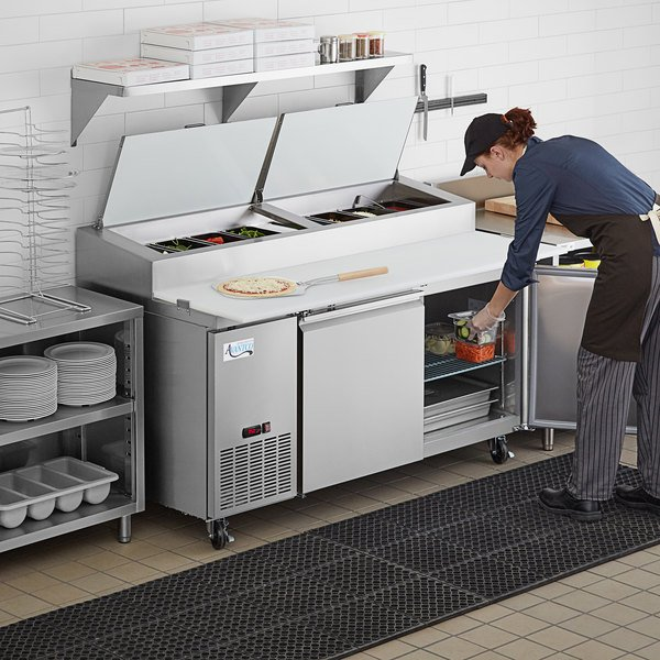 "Avantco SSPPT-2 67"" 2 Door Refrigerated Pizza Prep Table Main Image 7"