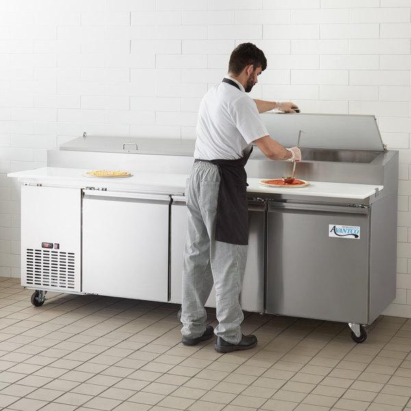 "Avantco SSPPT-3 93"" 3 Door Refrigerated Pizza Prep Table"