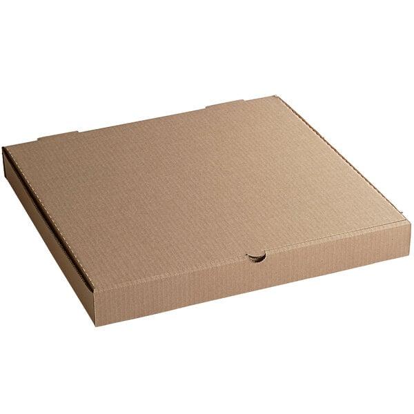 "18"" x 18"" x 2"" Kraft Customizable Corrugated Plain Pizza / Bakery Box - 50/Bundle Main Image 1"