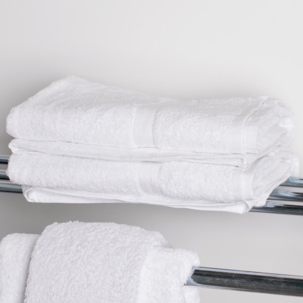 "Lavex Lodging 27"" x 54"" 100% Ring Spun Cotton Hotel Bath Towel 17 lb. - 12/Pack"