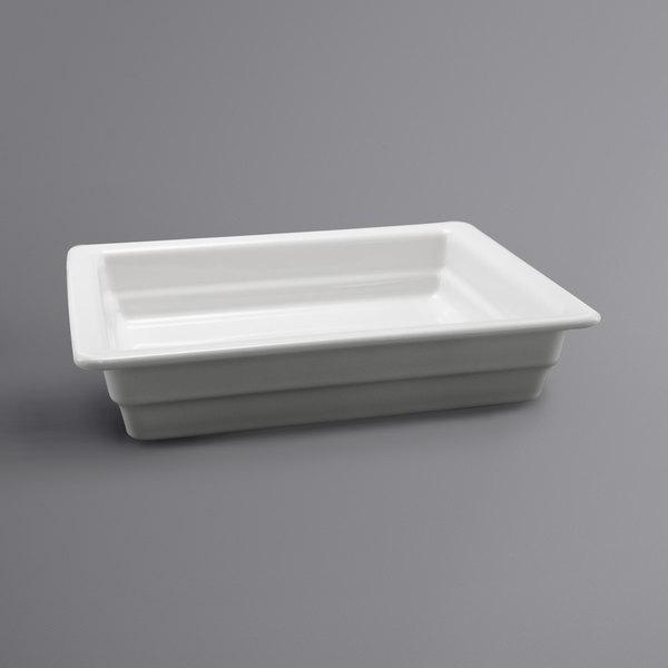 """Hall China 1016P0ABWA 1/2 Size 2 1/2"""" Deep Bright White China Food Pan"""