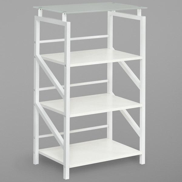 Safco 1007WW SOHO 4-Shelf White Textured Laminate Bookcase with Glass Top -  23 1/2