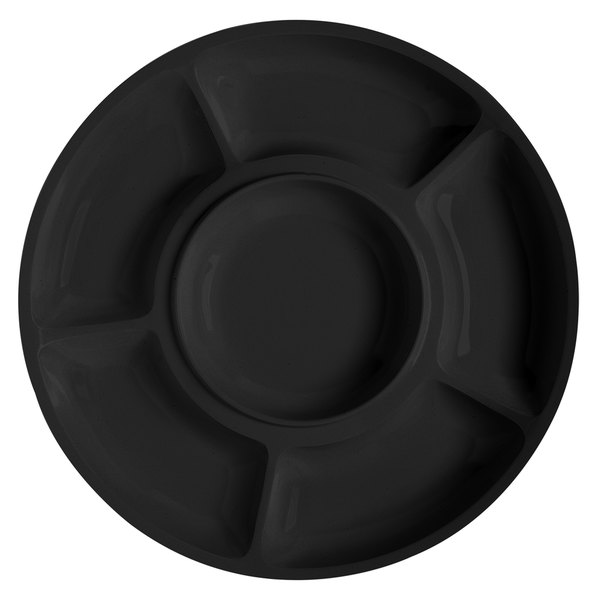 """GET APS -6-BK Milano 14"""" Black Round 6 Compartment Plate - 12/Pack"""