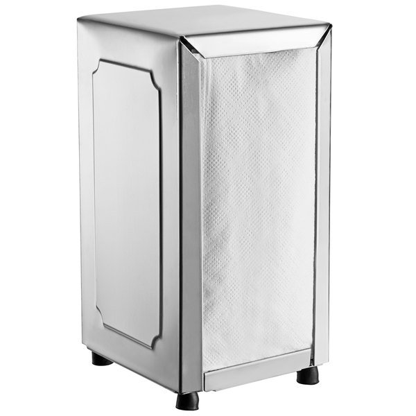 Choice Stainless Steel Tall-fold Two-Sided Tabletop Napkin Dispenser Main Image 1