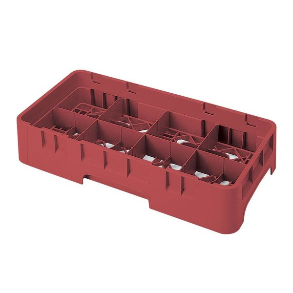 "Cambro 8HS800416 Cranberry Camrack Customizable 8 Compartment Half Size 8 1/2"" Glass Rack Main Image 1"