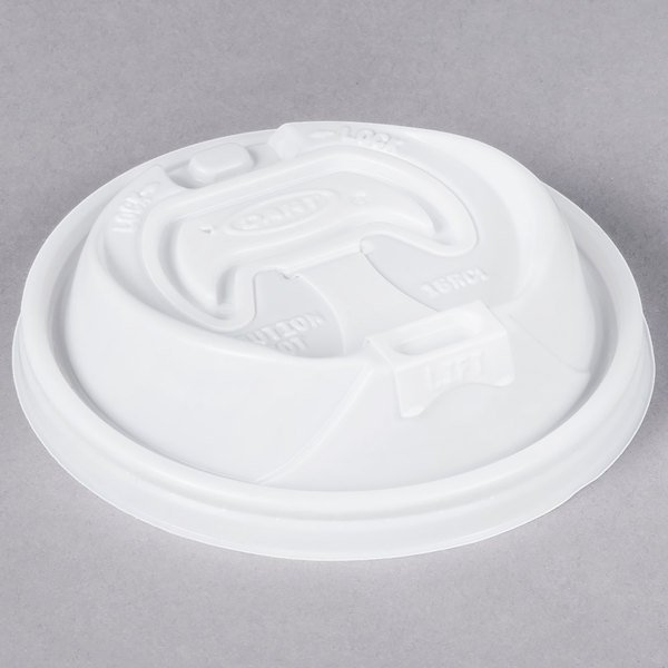 Dart 16RCL Optima White Travel Lid with Reclosable Tab - 1000/Case Main Image 1