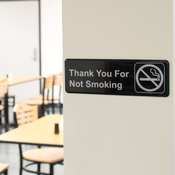 "Thank You For Not Smoking Sign - Black and White, 9"" x 3"""
