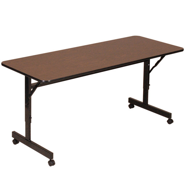 "Correll EconoLine Mobile Flip Top Table, 24"" x 60"" Adjustable Height Melamine Top, Walnut - EconoLine"