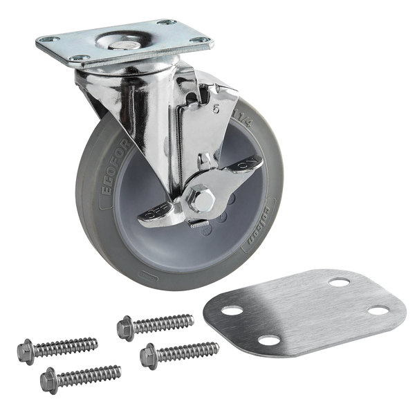 """Cambro H19003 5"""" Swivel Caster with Brake Replacement for S-Series Compact Adjustable Dish Caddy"""