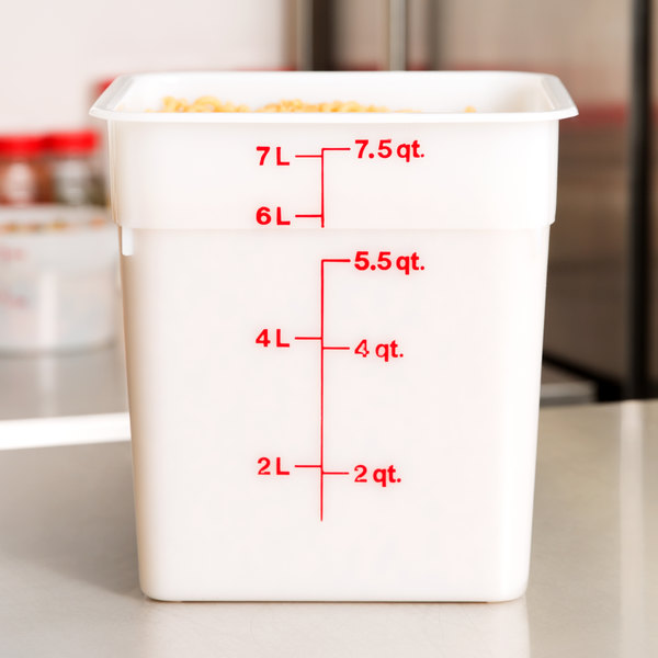 Cambro 8SFSP148 8 Qt. White Poly CamSquare® Food Storage Container