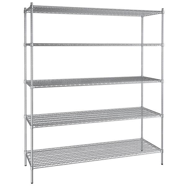"Regency 24"" x 72"" NSF Stainless Steel 5-Shelf Kit with 86"" Posts Main Image 1"