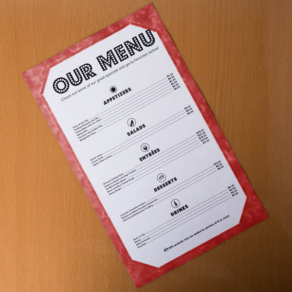"8 1/2"" x 14"" Burgundy Menu Paper - Angled Marble Border - 100/Pack"