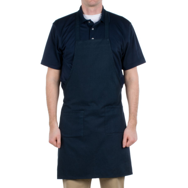"Choice Navy Blue Full Length Bib Apron with Pockets - 34"" x 32""W"