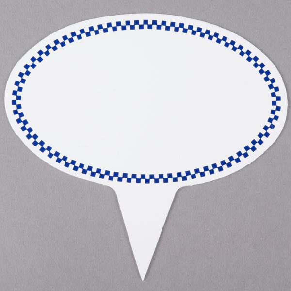 Oval Write-On Deli Sign Spear with Blue Checkered Border - 25/Pack Main Image 1