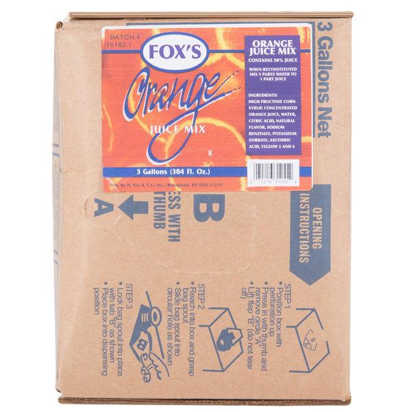 Fox's 3 Gallon Bag In Box Orange Juice Syrup