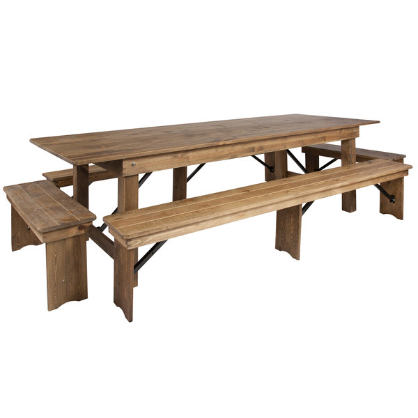 Awesome Flash Furniture Xa Farm 7 Gg Hercules 40 X 108 X 30 Antique Rustic Solid Pine Folding Farm Table With Four Benches Ibusinesslaw Wood Chair Design Ideas Ibusinesslaworg