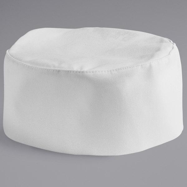 Mercer Culinary Millennia® M60075 Customizable White Baker's Skull Cap / Pill Box Hat - Regular Size Main Image 1