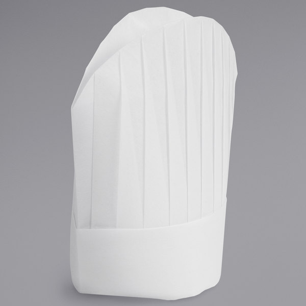 """Mercer Culinary Genesis® 8 1/2"""" White Oval Chef Toque Hat - 10/Pack Main Image 1"""
