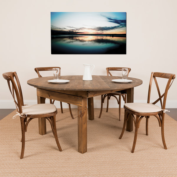 Awe Inspiring Flash Furniture Xa Farm 20 Gg Hercules 60X 30 Antique Rustic Solid Pine Round Folding Farm Table With 4 Cross Back Chairs And Cushions Cjindustries Chair Design For Home Cjindustriesco