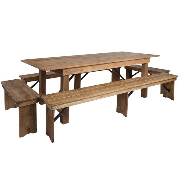 Fine Flash Furniture Xa Farm 5 Gg Hercules 40 X 96 X 30 Antique Rustic Solid Pine Folding Farm Table With Four Benches Machost Co Dining Chair Design Ideas Machostcouk