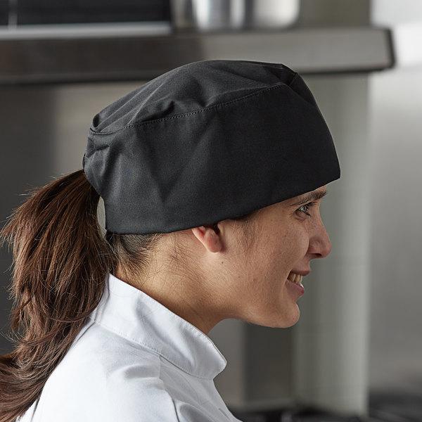 Mercer Culinary Millennia® M60075 Customizable Black Baker's Skull Cap / Pill Box Hat - Regular Size Main Image 3