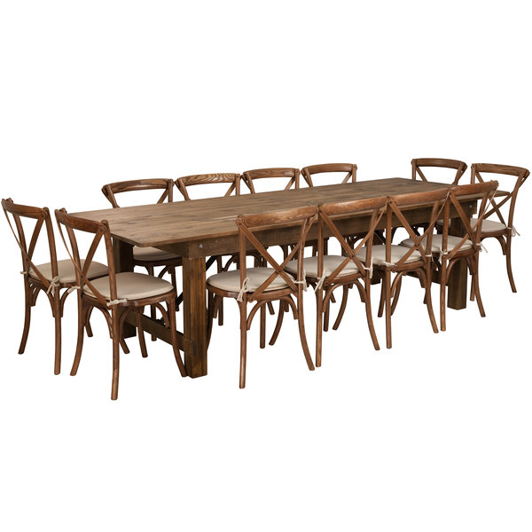 Flash Furniture Xa Farm 16 Gg Hercules 40 X 108 30 Antique Rustic Solid Pine Folding Table With 12 Cross Back Chairs And Cushions