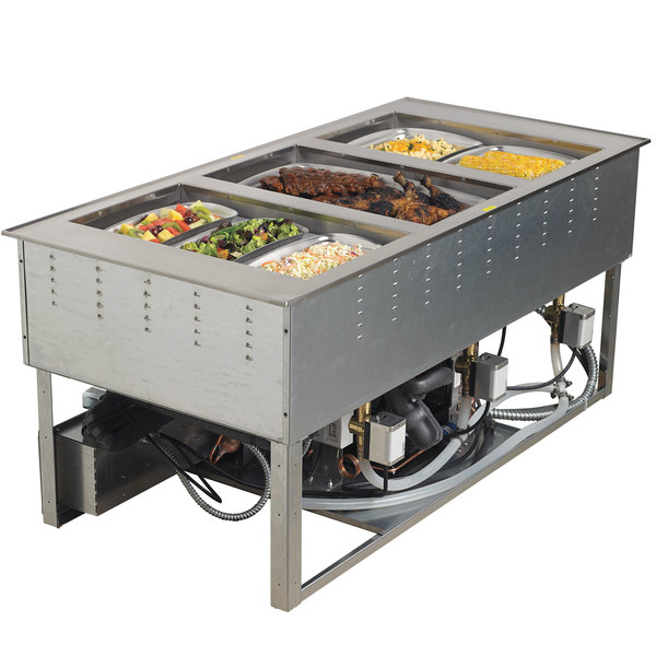 Vollrath FC-6HC-03120-AD Three Well Modular Drop-In Hot / Cold Food Well with Auto Manifold Drain - 120V Main Image 1