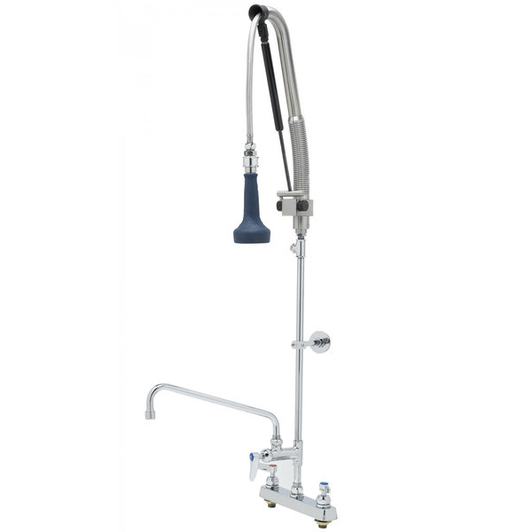 """T&S B-5120-12CRB8TP 47 3/16"""" High Deck Mounted DuraPull Pre-Rinse Faucet 8"""" Workboard Centers, 30"""" Hose, 1.07 GPM Spray Valve, 12"""" Add-On Faucet, Accessory Tee, and Wall Bracket Main Image 1"""