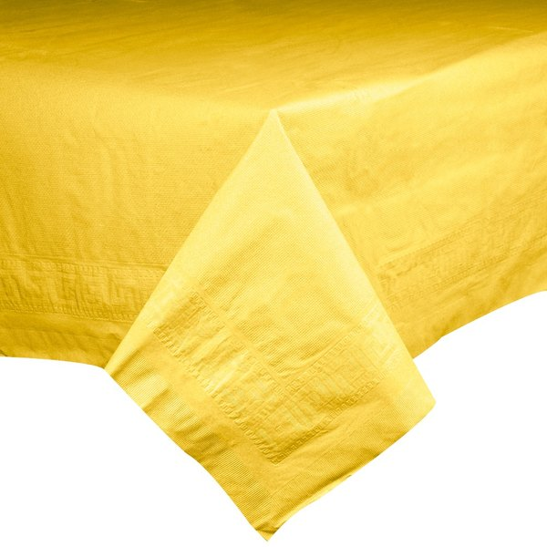 Hoffmaster 220640 54 inch x 108 inch Cellutex Sun Yellow Tissue / Poly Paper Table Cover - 25/Case