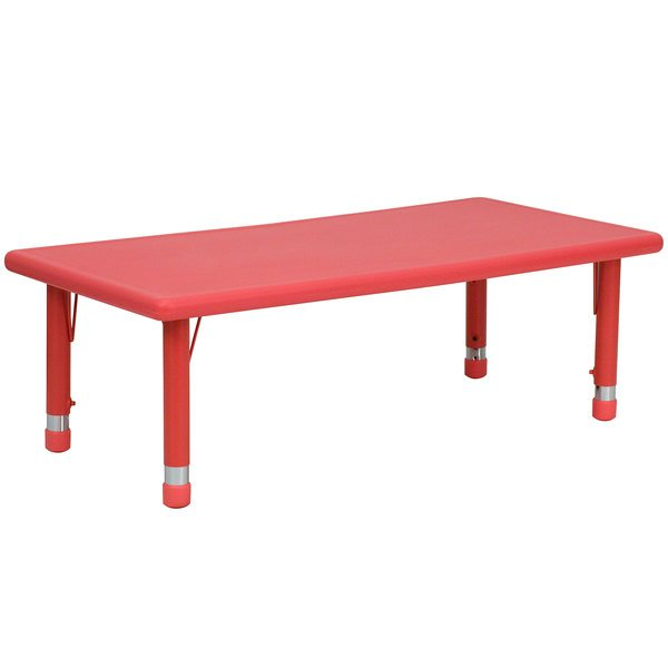 """Flash Furniture YU-YCX-001-2-RECT-TBL-RED-GG 24"""" x 48"""" Red Plastic Rectangular Adjustable Height Activity Table Main Image 1"""