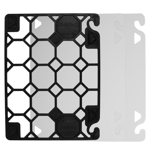 "San Jamar CBQGSCSK1824 QuadGrip 24"" x 18"" x 1/8"" Cutting Board Starter Kit with Smart Check Visual Indicator"