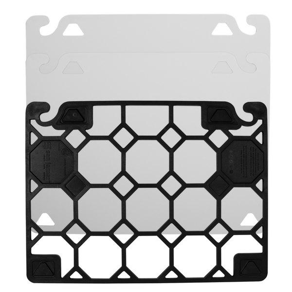 "San Jamar CBQGSCSK1824 QuadGrip™ 24"" x 18"" x 1/8"" Cutting Board Starter Kit with Smart Check Visual Indicator"