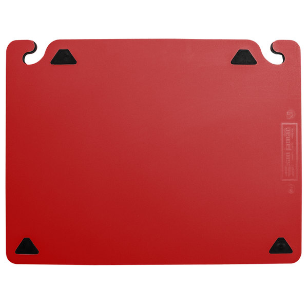 "San Jamar CBQGSC1824RD QuadGrip™ 24"" x 18"" x 1/8"" Red Cutting Board with Smart Check Visual Indicator Refill - 2/Pack"