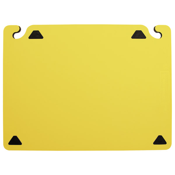 "San Jamar CBQGSC1824YL QuadGrip™ 24"" x 18"" x 1/8"" Yellow Cutting Board with Smart Check Visual Indicator Refill - 2/Pack"