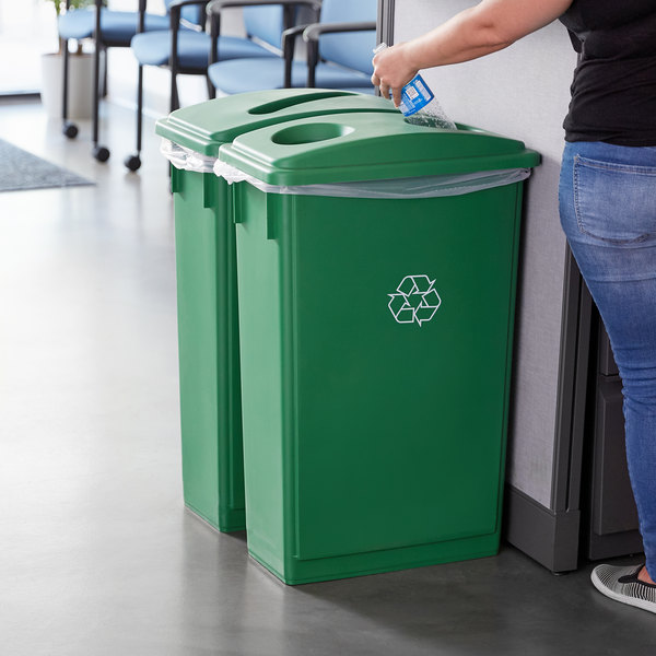 Lavex Janitorial 23 Gallon Green Slim Rectangular Recycle Station with Bottle / Can and Paper Lids Main Image 2