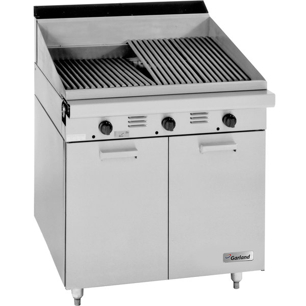"""Garland MST24BE Master Sentry Series Liquid Propane Range Match 24"""" Briquette Charbroiler with Storage Base and Electric Ignition - 60,000 BTU Main Image 1"""