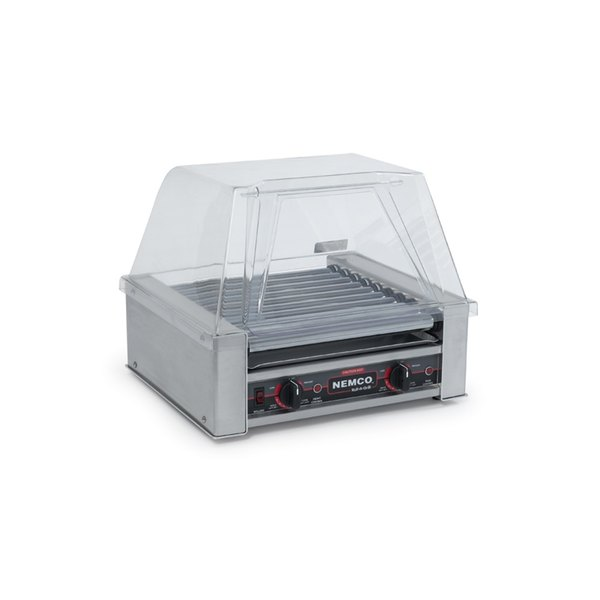 Nemco 8018SX-220 Hot Dog Roller Grill with GripsIt Non-Stick Coating - 18 Hot Dog Capacity (220V)