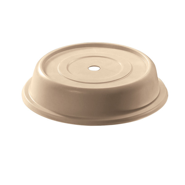 """Cambro 1005CW133 Camwear 10 9/16"""" Beige Camcover Plate Cover - 12/Case"""