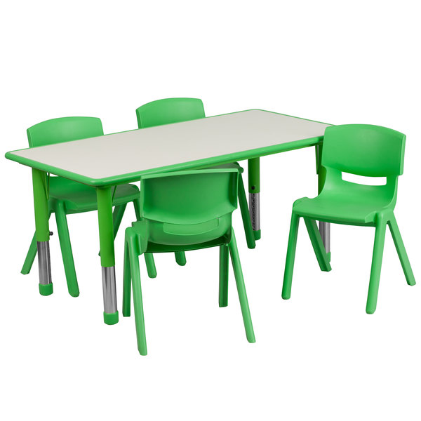 "Flash Furniture YU-YCY-060-0034-RECT-TBL-GREEN-GG 23 5/8"" x 47 1/4"" Green Plastic Rectangular Adjustable Height Activity Table with Four Chairs"