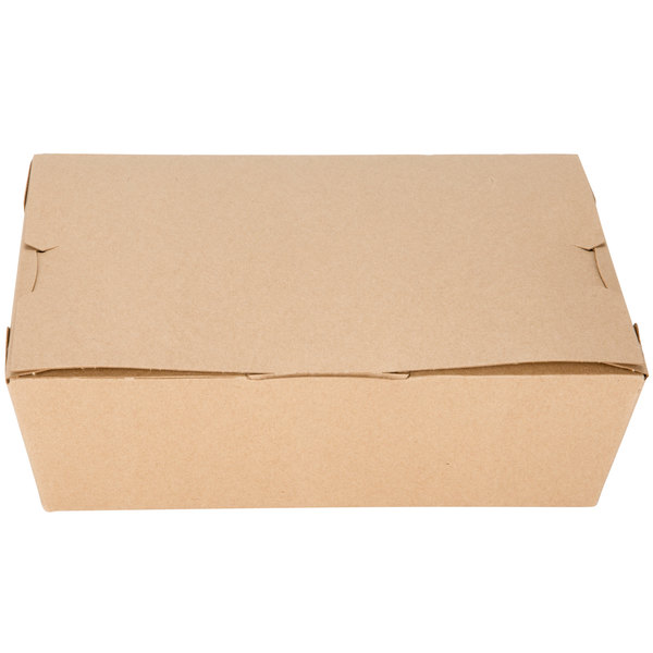 Customizable Microwavable Paper #3 Take Out Box 7 3/4 inch x 5 1/2 inch x 2 1/2 inch - 200/Case
