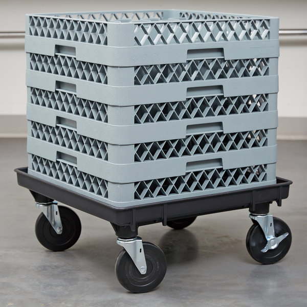"""Vollrath 1697-06-LC2 Traex® Recycled Black Rack Dolly Base (No Handle) - 21"""" x 21"""""""