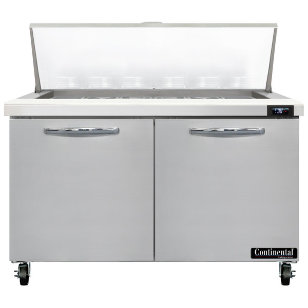 "Continental Refrigerator SW48-N-18M 48"" 2 Door Mighty Top Refrigerated Sandwich Prep Table Main Image 1"