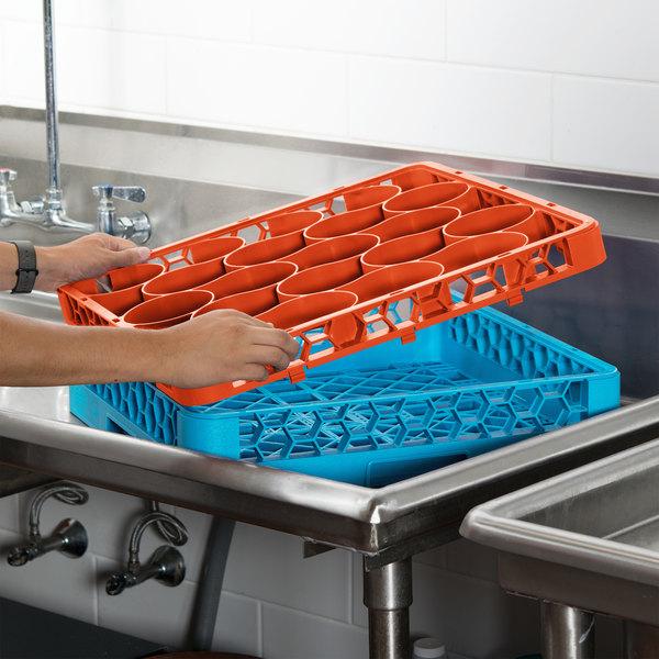 Carlisle REW20SC24 OptiClean NeWave 20 Compartment Orange Color-Coded Short Glass Rack Extender