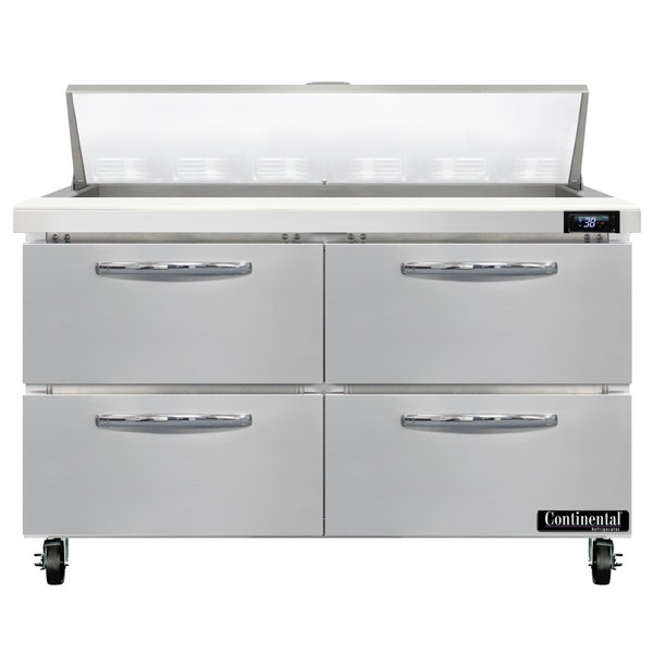 """Continental Refrigerator SW48-N-12-D 48"""" 4 Drawer Refrigerated Sandwich Prep Table Main Image 1"""